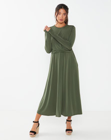 Utopia Twist Front Midi Flare Dress Khaki