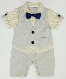 Anjo Couture Suit Onesie - Grey & Cream