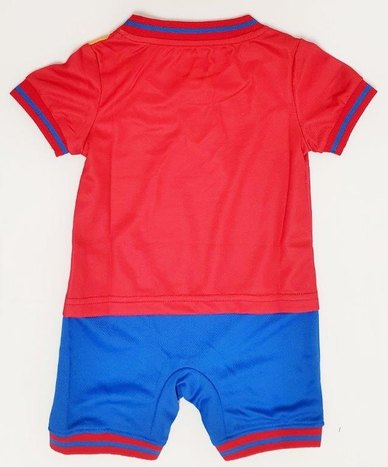 Anjo Couture Soccer Onesie - Red Blue