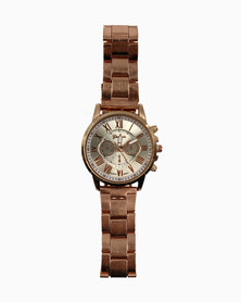 Miss Boss Bracelet Style Fashion Analogue Watch with Roman Numerals in Rose Gold