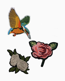 Miss Boss DIY Iron On Patches with Sequence Bird, Rose and Flower Multi Colour