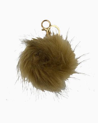 Miss Boss Faux Fur Pom Pom Keychain in Taupe