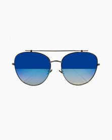 Miss Boss Classic Aviator Sunglass with Reflective Lens Blue