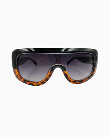 Miss Boss Sports Luxe Shield Sunglass with Ombre Detail Black