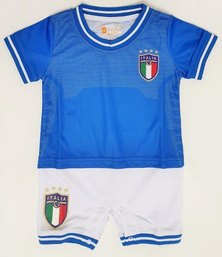 Anjo Couture Soccer Inspired Onesie -  Blue & White