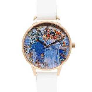 Rhiannon - Luxury Bohemian Watch, Rose Gold, White Genuine Leather Strap