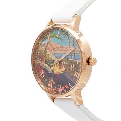 Aurora - Luxury Bohemian Watch, Rose Gold, White Genuine Leather Strap