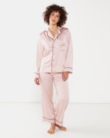 Yarin Amram Long Satin Pajama Set Pink