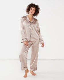 Yarin Amram Long Satin Pajama Set Rosewood