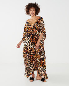 Talooshka Short Sequin Animal Print Kaftan Gold