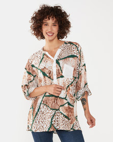 UB Creative Sequin Pocket Animal Print Shirt Green/Brown