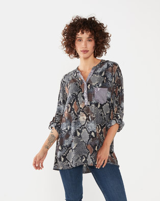 UB Creative Sequin Pocket Snake Print Shirt Grey