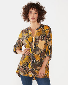 UB Creative Sequin Pocket Snake Print Shirt Yellow