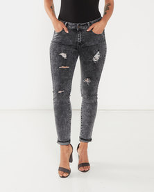UB Creative Sequin Pocket Jeans Black