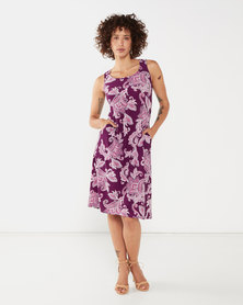 Nucleus Curve Racer Dress in Plum Paisley