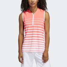 ENGINEERED STRIPE SLEEVELESS POLO SHIRT