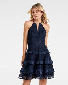 ELANDRA LACE HALTER DRESS NAVY