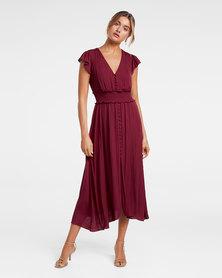 Amayah Button Front Midi Dress Berry Bliss