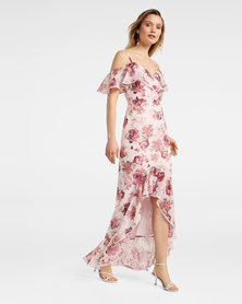 STACEY OFF SHOULDER RUFFLE MAXI Ivory Cream Base Print