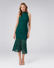 RIKKI LACE FISHTAIL DRESS GREEN