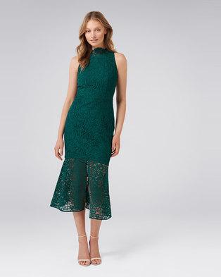 RIKKI LACE FISHTAIL DRESS GREEN