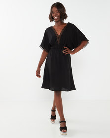 Utopia Black Viscose Tunic Dress With Trim