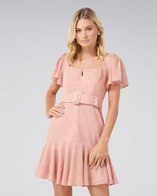 ESMERELDA EMBROIDERED BELTED DRESS Cosmetic Nude