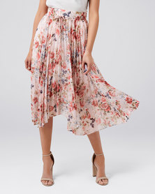 Alexis Pleated Georgette Skirt Sunset Floral
