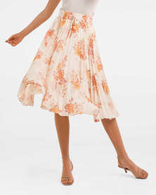 Alexis Pleated Georgette Skirt  Blush Sweet Dream Floral