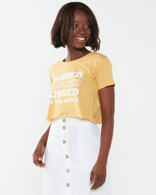 Billabong Kissed Crop Tee Yellow