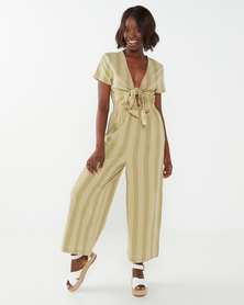 Billabong Ivy Stripe Jumpsuit Green