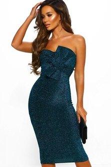 French Champagne Sparkle Bow Midi Dress - Blue