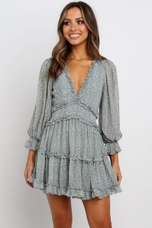 Endless Love Boho Ruffle Mini Dress - Green