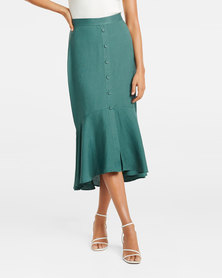 Lyla Co-ord Button Down Midi Skirt Teal