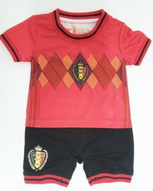 Anjo Couture Soccer Inspired Onesie - Red & Black