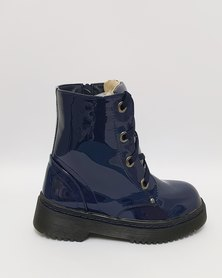 Anjo Couture Combat Boot - Navy