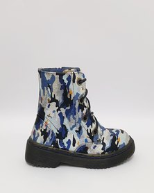 Anjo Couture Combat Boot - Blue Camouflage