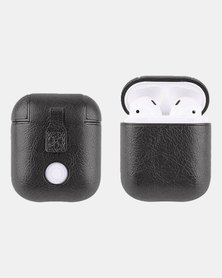 PU Leather Shockproof Protective Case For Apple AirPods - Black