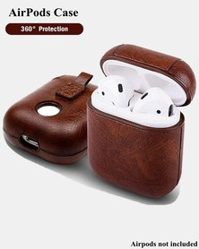 PU Leather Shockproof Protective Case with Strap For AirPods - Dark Brown