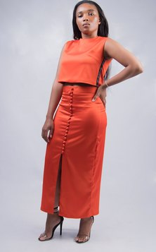 Dope Motherhood 100% Satin Crop Set Orange