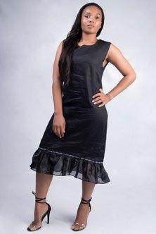 Dope Motherhood Linen Shift Dress Black