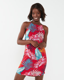 Utopia Red Tropical Halterneck Dress