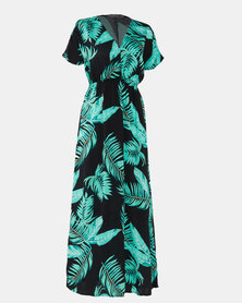 Utopia Leaf Print Maxi Dress Black/Green