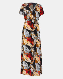 Utopia Leaf Print Maxi Dress Black/Red