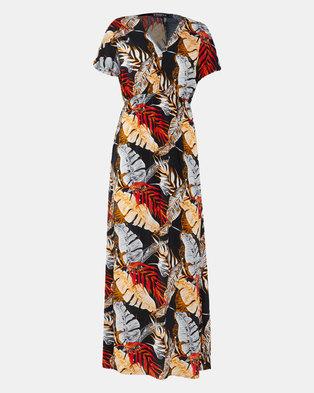 Utopia Leaf Print Maxi Dress Black/Red