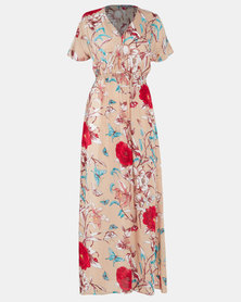 Utopia Floral Print Maxi Dress Nude/Red