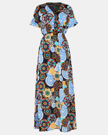Utopia Geo Print Maxi Dress Black