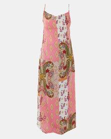 Utopia Scarf Print Cowl Neck Maxi Dress Pink