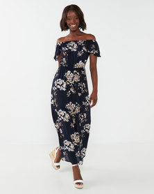 Utopia Floral Bardot Maxi Dress Navy