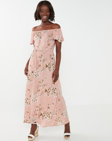 Utopia Floral Bardot Maxi Dress Pink